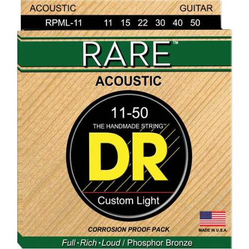 DR RPML11 레어 포스포브론즈 커스텀라이트 DR RPML-11 Rare Acoustic Strings Phosphor Bronze 11,15,22,30,40,50